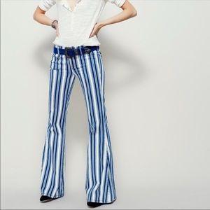 Free People Jolene Stripe Flare Jeans Sz 29